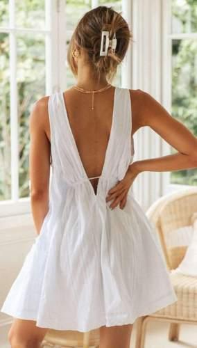 Casual Loose Pure V neck Sleeveless Shift Dresses