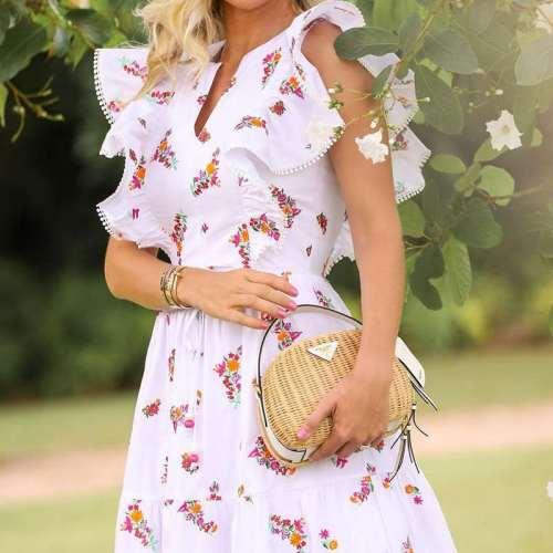 Fashion Floral pring V neck Sleeveless Falbala Skater Maxi Dresses