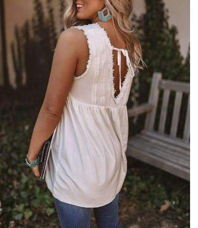 Casual Loose Pure Square collar Lace Sleeveless Vests