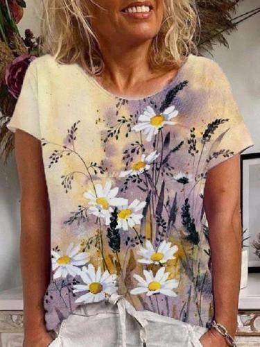 Vintage Cotton-Blend Floral-Print Short Sleeve T-Shirts
