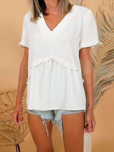 Casual Pure V neck Short sleeve Gored Falbala T-Shirts