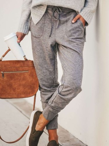 Women Casual Pure Lacing Pencil Pants