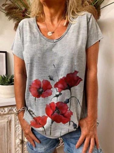 Summer V Neck Short Sleeve Printed T-Shirts