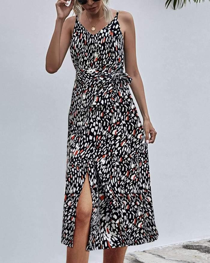 Casual Print V neck Sleeveless Lacing Vest Vent Skater Dresses