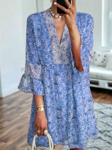 V Neck Women Dresses Date Cotton Shift Dresses
