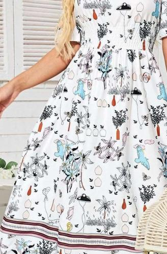 Fashion Floral print One shoulder Short sleeve Maxi Dresses