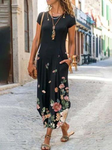 Black Shift Printed Floral Casual Dresses