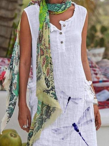 White Printed Sleeveless Shift Cotton-Blend Dresses
