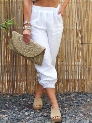 White Solid Casual Linen Pants