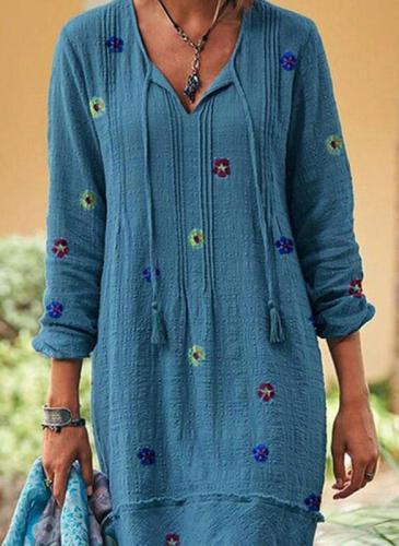 Blue V Neck Casual Floral Dresses
