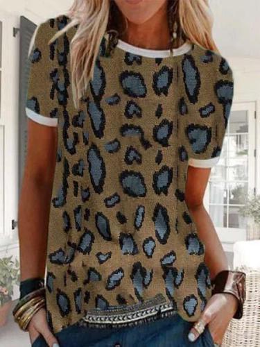 Leopard-Print Casual Cotton-Blend Short Sleeve T-shirts