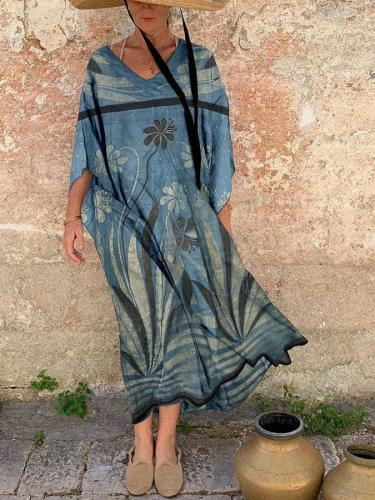 Blue 3/4 Sleeve Swing V Neck Chiffon Dresses