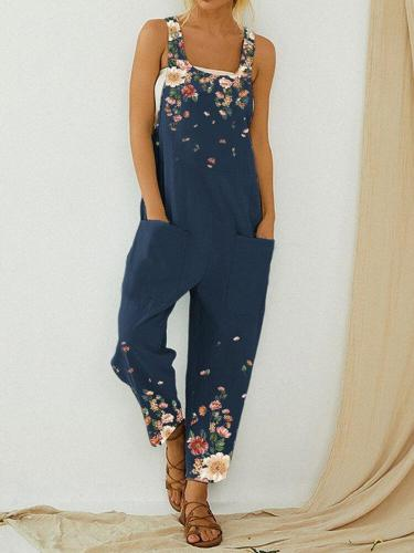 Floral Print Straps Casual Jumpsuit With Pockets For Women