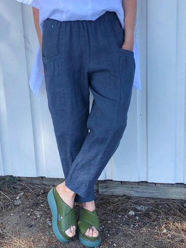 Dark Blue Shift Cotton-Blend Casual Solid Pants