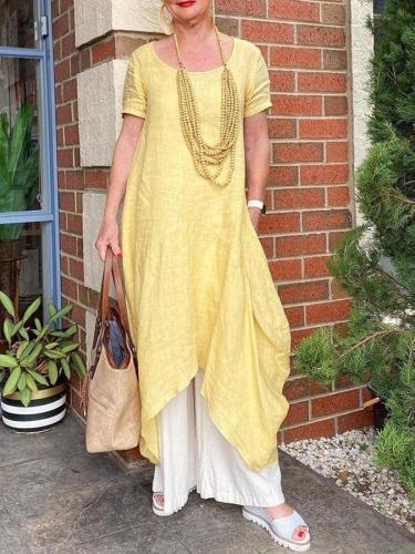 Yellow Crew Neck Shift Short Sleeve Cotton-Blend Dresses