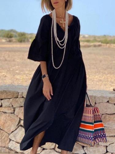 Black Half Sleeve Shift V Neck Solid Dresses