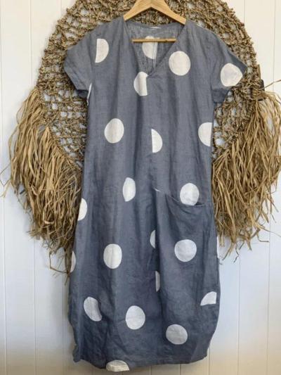 Polka Dots V Neck Cotton-Blend Casual Dresses