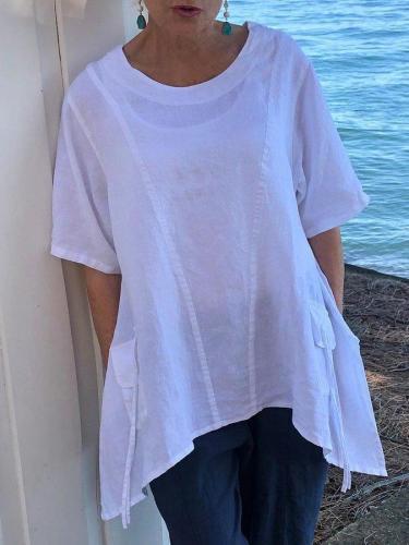 White Shift Short Sleeve Cotton-Blend Shirts & Tops
