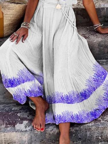 Sleeveless V Neck Printed Dress