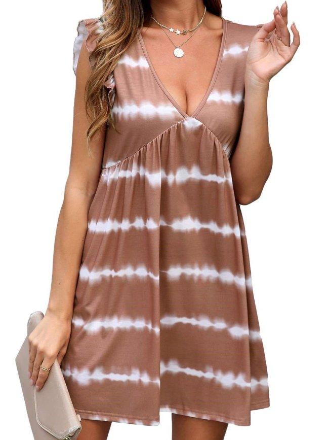 Casual Loose Stripe print V neck Sleeveless Gored Shift Dresses