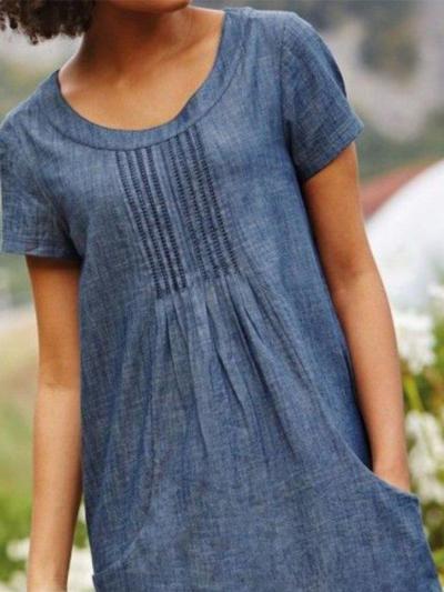 Blue Crew Neck Casual Short Sleeve Plain Midi Dresses