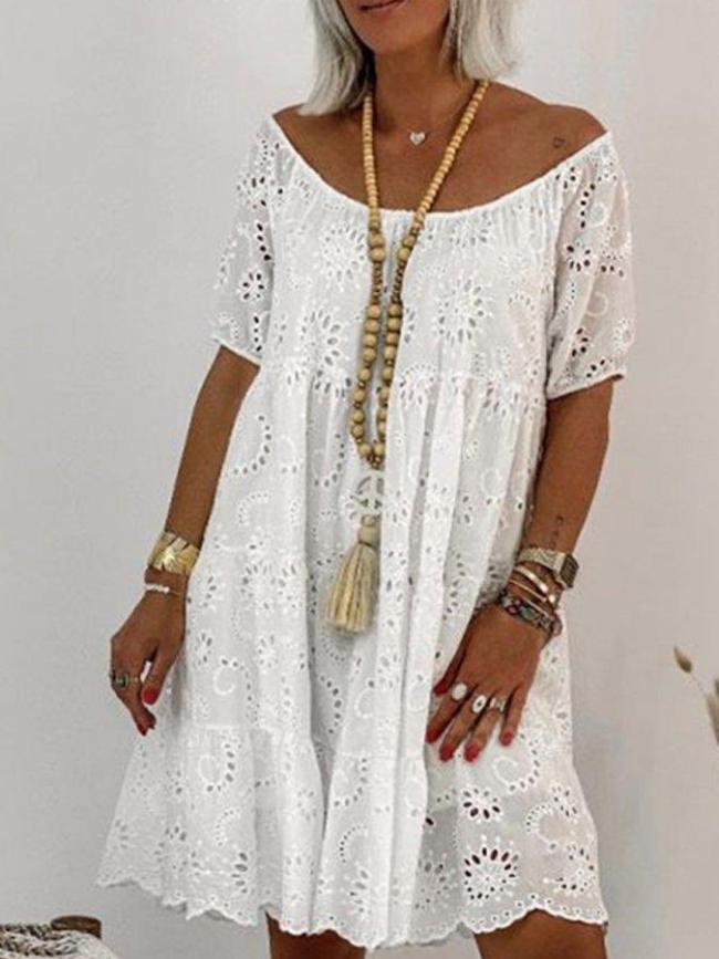 White Cotton-Blend Short Sleeve Casual Floral Shift Dresses