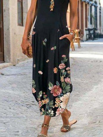 Black Shift Printed Floral Casual Dresses