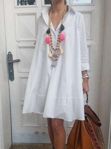 Casual Solid V Neck Dresses