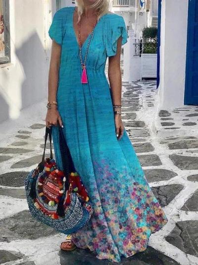 Casual Printed V Neck Short Sleeve Dresses