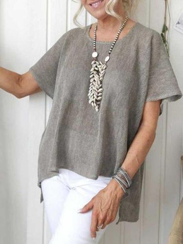 Casual loose solid color short-sleeved round neck cotton and linen top T-shirts