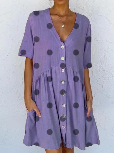 Printed Polka Dots Short Sleeve Dress