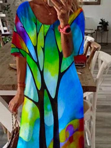 Casual Print Round neck Short sleeve Maxi Dresses
