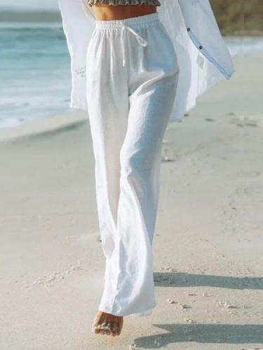 White Cotton-Blend Solid Casual Pants