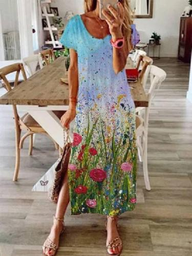 Cotton-Blend Crew Neck Sweet Shift Dresses Long dress Maxi dresses