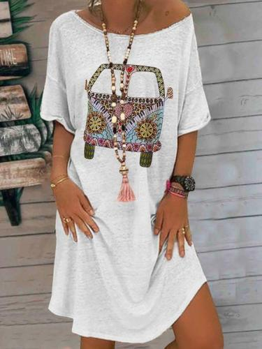 White Casual Printed Short Sleeve Crew Neck Dresses