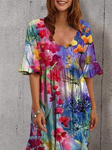 Flower Floral Short Sleeve Crew Neck Midi Dresses
