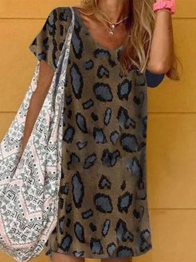 Short Sleeve Casual Shift Dresses