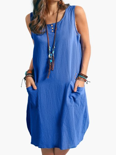 New Women Chic Plus Size Vintage Casual Boho Comfortable Shift Linen Simple & Basic Dresses