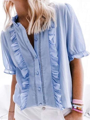 Fashion Pure Ruffled collar Short sleeve Blouses