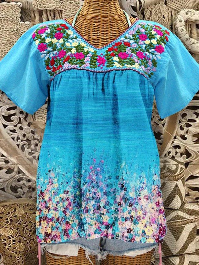 Blue V Neck Short Sleeve Floral Shirts & Tops