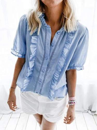 Fashion Pure Ruffled collar Short sleeve Blouses