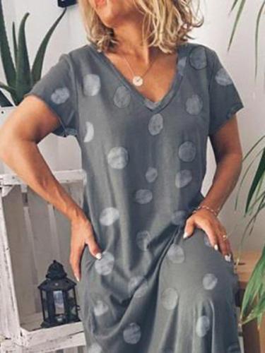 Polka Dots V Neck Printed Casual Shift Dress