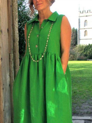Green Plain Shift Shirt Collar Cold Shoulder Maxi Dresses