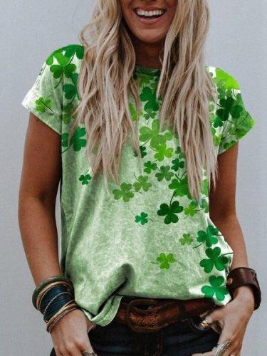 Green Printed Plant Shift Short Sleeve Shirts & Tops