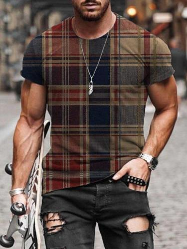 Men's Check Pattern Print T-shirt