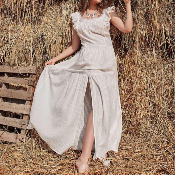 Casual Loose Pure Square collar Sleeveless Falbala Vent Maxi Dresses