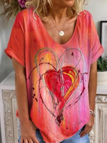 Pink Short Sleeve Floral Sweet T-shirt