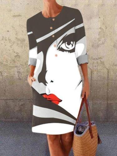 White-Black Long Sleeve Crew Neck Dresses