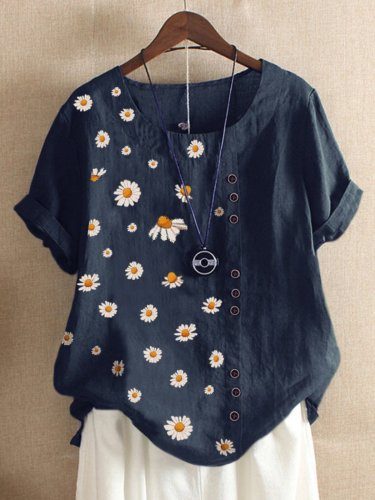 Navy Blue Casual Floral-print Floral Shirts & Tops