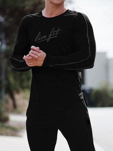 Mens O-Neck Sports Fitness Alphabet Long Sleeve T-Shirt